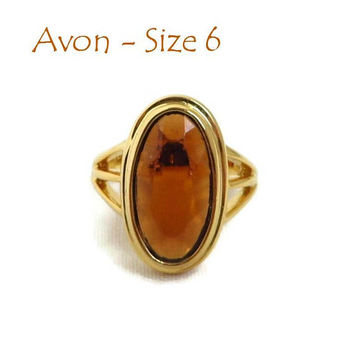 AVON Amber Glass Ring - Vintage 1970s Gold Tone Metal Oval Glass Ring, Size 6, Gift for Her, Gift Boxed