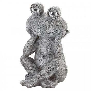 Frog Garden Statue with Solar Light-Up Eyes