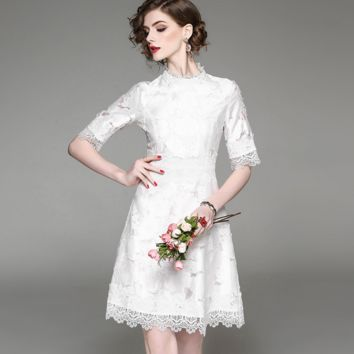 New spring new pure white dress jacquard lace dress women