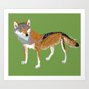 Eastern Wolf (Canis lupus lycaon) (c) 2017 Art Print by Belette Le Pink