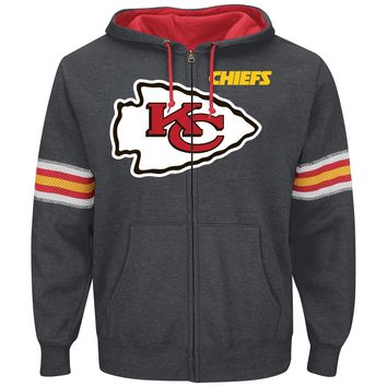 Kansas City Chiefs Intimidating VI Full Zip NFL Hoodie (Charcoal)