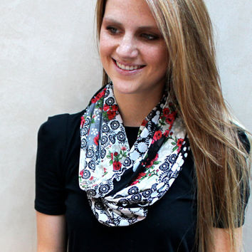 Polka Dot Cowl Scarf, Flower Cowl Scarf, Rose Scarf, Black, White, Roses