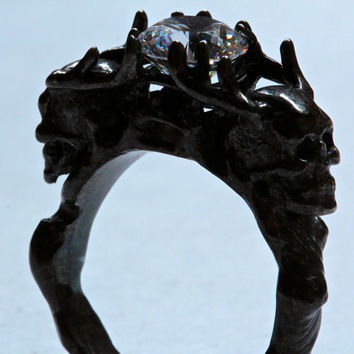 Two Antlers Skull Ring white CZ black silver ring Made In NYC