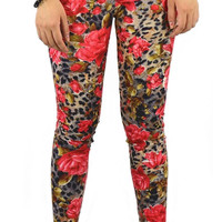 Design 409 - Floral cheetah leggings