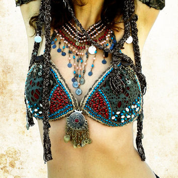 Turkish Tribal Fusion Necklace, Hand Bead Belly Dance Costume