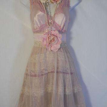 Pink maxi dress lace silk  tiered ruffle   boho   rose dolly wedding   medium  by vintage opulence on Etsy