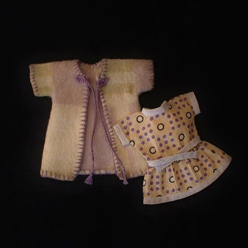 """Vintage Mignonette DOLL Clothes Navajo American Indian Wool Blanket COAT Feed Sack DRESS 7""""- 8"""" Miniature Dolls c.1920's"""