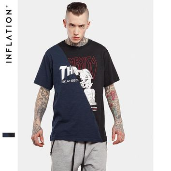 HCXX INFLATION 2017 Men Streetwear Top Tees Casual  Urban Fashion Bamboo Cotton Tees For Men Patchwork Casual Loose Tees