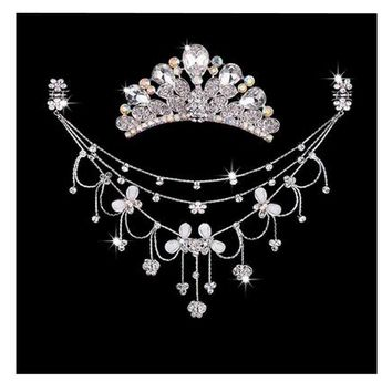 Princess Dress up Accessories Jewelry Set Birthday Party Favor [White]