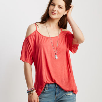 Solid Cold Shoulder Boxy Top