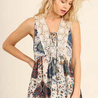 Floral Print Sleeveless Top with Lace Detail - Cream Mix
