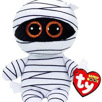 "Ty Beanie Boos 6"" 15cm Mummy the White Mummy Halloween Unicorn Plush Regular Stuffed Animal Collectible Big Eyes Doll Toy"