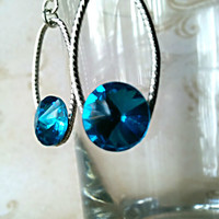 The Diane- Sterling Silver Twisting Oval Earrings with Brilliant Blue Swarovski Crystal Rivolis