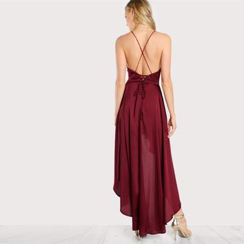 Elegant Deep V Neck Spaghetti Strap Asymmetrical Crisscross Backless Dress