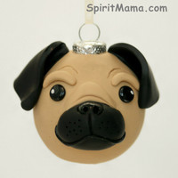 Brown Pug Dog Round Tree Ornament Dog Breed Art