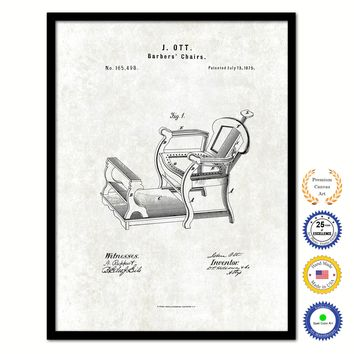 1875 Barbers Chairs Vintage Patent Artwork Black Framed Canvas Print Home Office Decor Great Gift for Barber Salon Hair Stylist