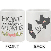Personalized Long Distance Relationship Mugs for Mom - Home Is Where MOM Is