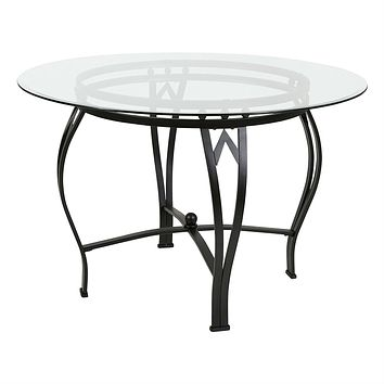 Modern 45-inch Round Glass Top Dining Table with Black Metal Frame