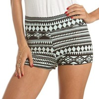 Mint Aztec Cotton Spandex Short: Charlotte Russe