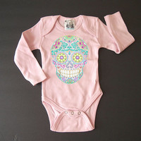 Long Sleeve Pink Skull Trendy baby clothes Hippie Baby 3 6 9 12 months Baby Shower gift girl Hipster Bodysuit Fall Baby romper
