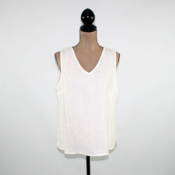 White Linen Top Women Sleeveless Shirt Summer Blouse V Neck Tank Top Hot Cotton Medium Large Vintage Clothing Womens Clothing