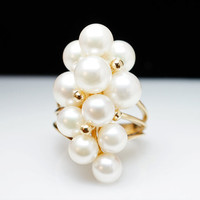 Vintage Pearl Waterfall Cluster Cocktail Ring by JamieKatesJewelry