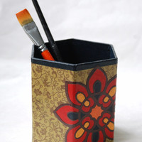 Green Hanji Pen Holder Pencil Case Desktop Handmade Red Brown Yellow Navy Flower Design Desk Organizer