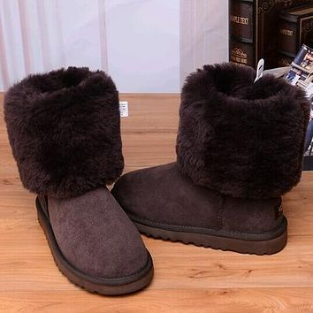 UGG Women Fashion Bow Leather Snow Boots In Tube Boots Shoes
