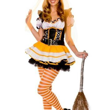 Bewitched Agaric Trim Ruffled Wicked Candy Corn Costume Ideas