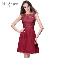 2017 New Arrival Lace Bodice Chiffon Skirt Burgundy Short Bridesmaid Dresses Wedding Party Dress for Bridesmaid