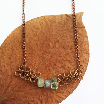 Flourite necklace - Copper wire necklace Copper wire jewelry Flourite pendant Flourite jewelry Wire wrap necklace Wire wrap pendant