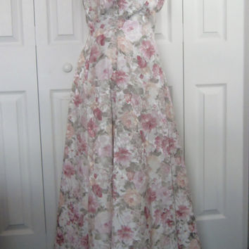 Vintage 80s Floral Brocade Dress Jessica McClintock Pink Bridal Bridesmaid Maxi Prom Gown Dressy Dress Crinoline Full Skirt Womens 10 USA