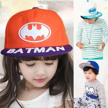 PEAPIX3 New 2015 Baby Boys Girls Snapback Hats Caps Baseball Cap Kids Children Batman pattern Hats Beanies