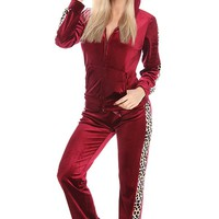 BURGUNDY 2 PC CHEETAH PRINT TERRY TRACKSUIT JACKET PANT SET