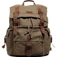 Kattee Vintage Canvas Leather Hiking Travel Backpack Rucksack School Bag Army Green