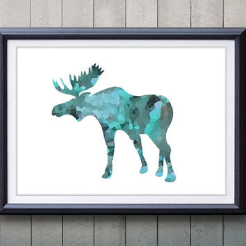 Blue Moose, Antler, Stag Print - Minimalist Art - Silhouette Poster Art - Wall Decor, Home Decor, House Warming Gifts