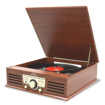 Vintage Classic-Style Bluetooth Turntable Vinyl Record Player with USB/MP3 Computer Recording Ability