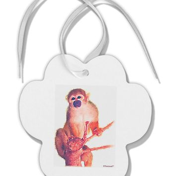Monkey in Tree Watercolor Paw Print Shaped Ornament