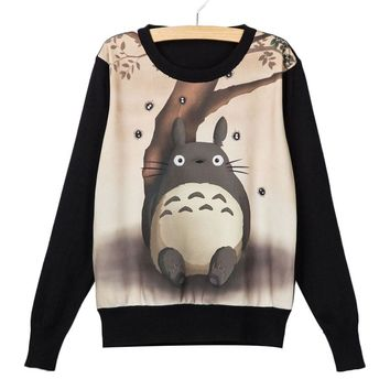 Harajuku 8 color Autumn Casual Womens Girl Sweatshirt Totoro Printed Sweatshirt Women Suit Hoodie Winter Knit Pullover