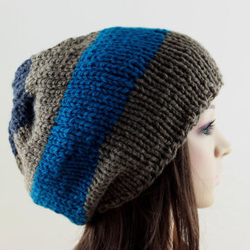 Slouchy Hat Hand Knit Hat Women s Hat Men s Hat Blue and Brown