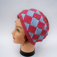 Entrelac Headband - Knit Ear Warmer In Blue And Pink - Womens Head Wrap - Cotton Accessory