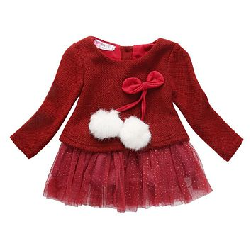 New Toddler Baby Kids Girls Clothing Dresses Spring Summer Brief Long Sleeve Knitted Bow Newborn Tutu Princess Dress 3 6 12 24M