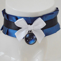 Kitten play collar - Distant star -  navy blue black and white - ddlg princess cute angel lolita petplay choker with galaxy pendant