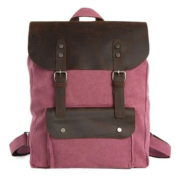 Waxed Canvas and Leather Backpack with Front Pocket - Pink