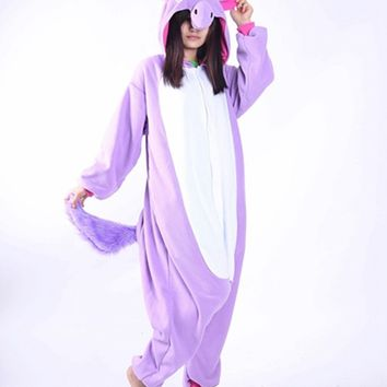 Adult Unicorn Onesuit Purple Pajamas Sleepwear Cosplay Costume Unisex Cartoon Jumpsuit Sleepsuit
