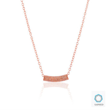 Classy 14k Rose Gold Fill Curved Bar Pave Natural Diamond Pendant Necklace, Sterling Silver Chain Diamond Bar Pendant Necklace,