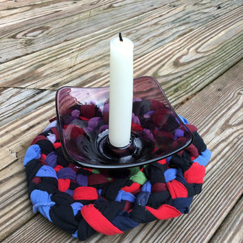 Small Trivet made Rag Rug Style of Upcycled Tshirts, Modern Home Accent, Hippie Home decor, Funky, Repurposed, Eclectic, Alternative, Boho