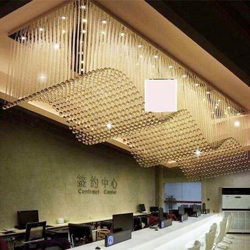 Rectangular gold shop Crystal Hotel Hotel aisle wave chandelier KTV club hall project led lighting fixture led lamps home lamp