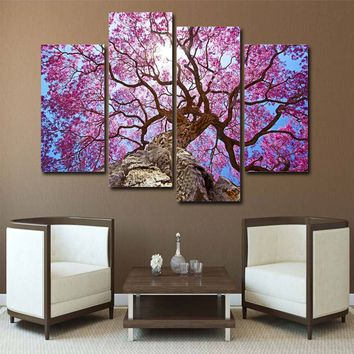 4 Piece Canvas Art Pink Forest Tall Tree Canvas Panel Print Framed UNframed