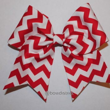 "3"" Red and White Chevron Cheer Bow"